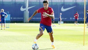 Philippe Coutinho durante un entrenamiento con el Barcelona