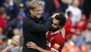 Klopp y Salah durante un partido de Liverpool