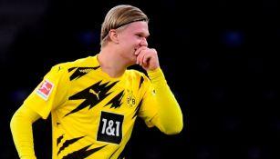 Haaland luego de anotar gol con el Borussia Dortmund