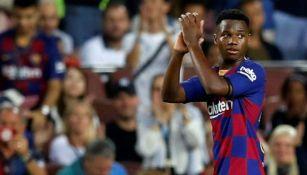 Ansu Fati en un partido con el Barcelona