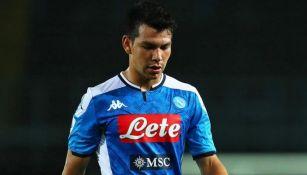 Hirving Lozano en partido con el Napoli