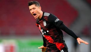 Robert Lewandowski luego de marcar gol con el Bayern Múnich