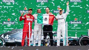 Lewis Hamilton, Sebastian Vettel y Valtteri Bottas en el GP de México