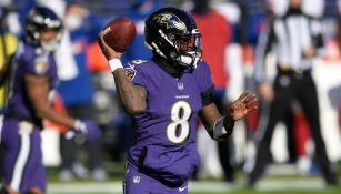 Lamar Jackson en un partido de los Ravens