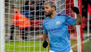 Sergio Agüero en un partido con el Manchester City