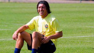 Zamorano, durante un entrenamiento en Coapa