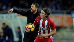 Filipe Luis y Simeone con Atlético de Madrid