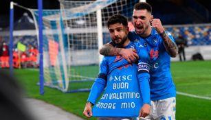 Lorenzo Insigne tras anotar su gol número 100 con el Napoli