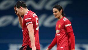Maguirre y Cavani en lamento con Manchetse United