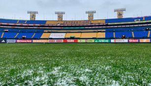 Estadio Universitario tras la nevada en Nuevo León