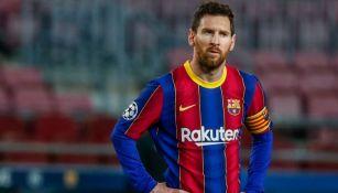 Lionel Messi en un partido con el Barcelona