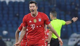 Lewandowski celebrando un gol con el Bayern Munich