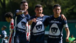 Jugadores de Pumas Sub-20 celebrando un gol a favor