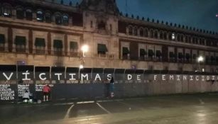 Vallas pintadas frente a Palacio Nacional
