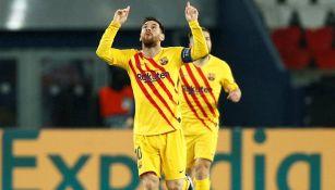 Lionel Messi celebrando un gol con Barcelona
