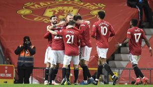 Jugadores del United celebrando un gol
