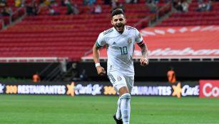 Alexis Vega celebrando un gol con el Tri Preolímpico