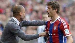 Guardiola y Müller en un partido con el Bayern