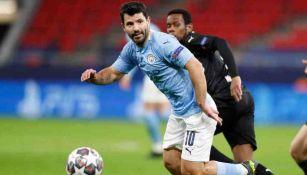 Sergio Agüero, en acción con el Manchester City