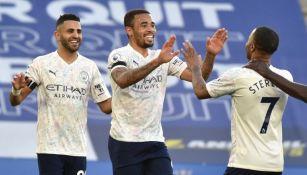 Jugadores del Manchester City celebrando el segundo a su favor