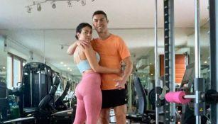 Georgina Rodríguez y Cristiano Ronaldo entrenando