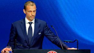 Aleksander Ceferin durante un congreso de UEFA