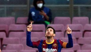 Lionel Messi durante un partido con Barcelona