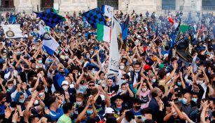 Afición del Inter, en festejo