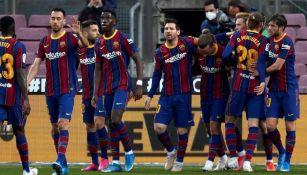 Jugadores del Barcelona en festejo de gol