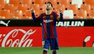 Lionel Messi tras anotar gol con el Barcelona