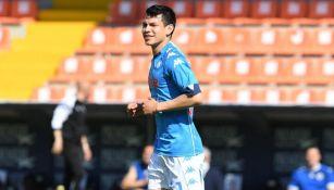 Hirving Lozano durante el partido entre el Napoli y el Spezia
