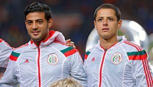 Chicharito y Vale previo a un partido del Tri