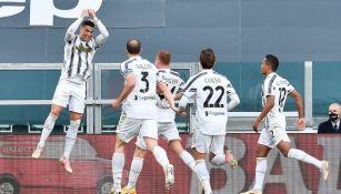 Cristiano Ronaldo festejando un gol a favor de la Juventus
