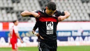 Robert Lewandowski celebra igualar el récord de Gerd Müller