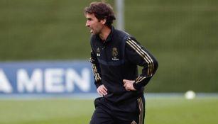 Raúl González durante un entrenamiento del Castilla