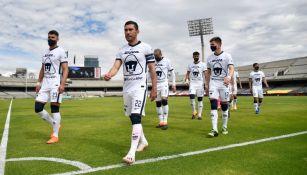 Jugadores de Pumas previo a un duelo ante Mazatlán FC