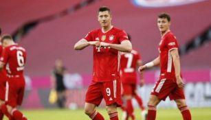 Robert Lewandowski celebra gol con el Bayern Munich