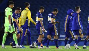 Jugadores de Boca Juniors tras un partido de Libertadores