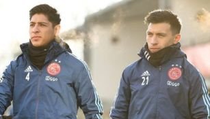 Álvarez y Martínez en un entrenamiento del Ajax
