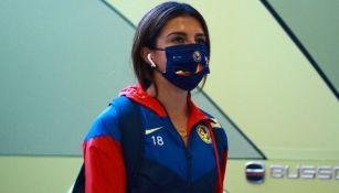 Jennifer Muñoz previo a un partido del América