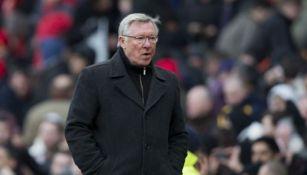 Alex Ferguson en un partido del United
