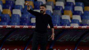 Gattuso en un partido con el Napoli