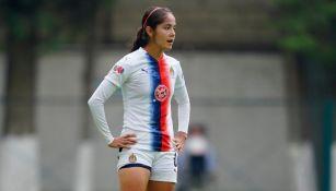 Miriam García durante un partido con las Chivas