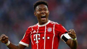 David Alaba festeja una anotación con el Bayern Munich