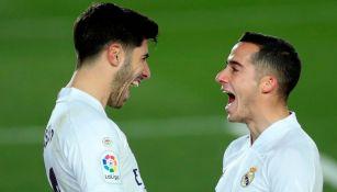 El extremo español festejando un gol con Asensio
