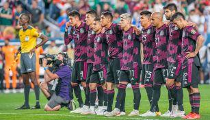 Jugadores de México en el partido ante Costa Rica