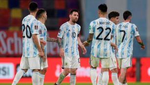 Jugadores de Argentina en un partido ante Chile