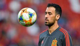 Busquets previo a un partido con España
