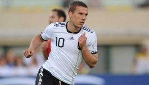 Lukas Podolski en celebración de gol