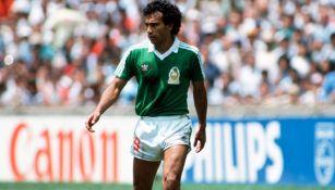 Hugo Sánchez, en un partido del Mundial de 1986